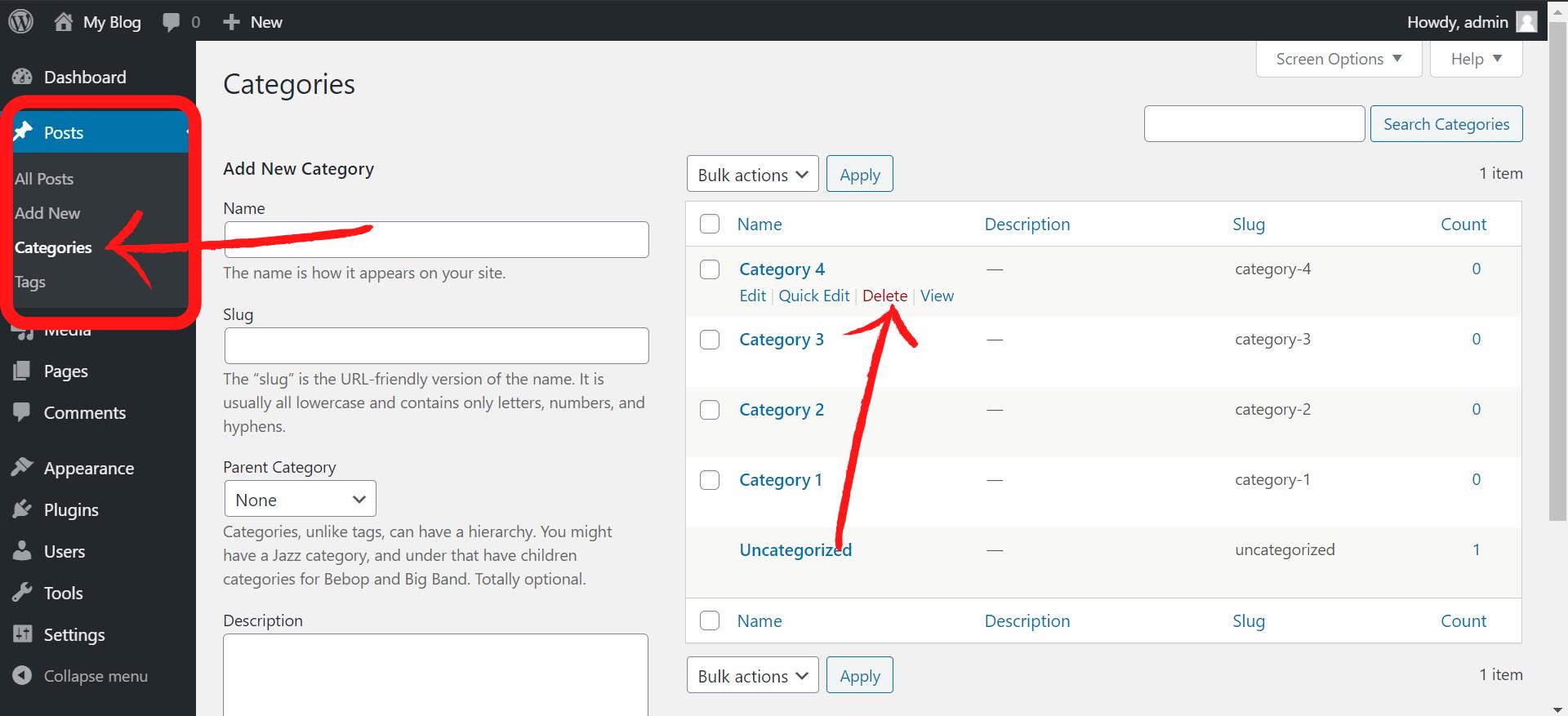 How to Delete Categories In WordPress