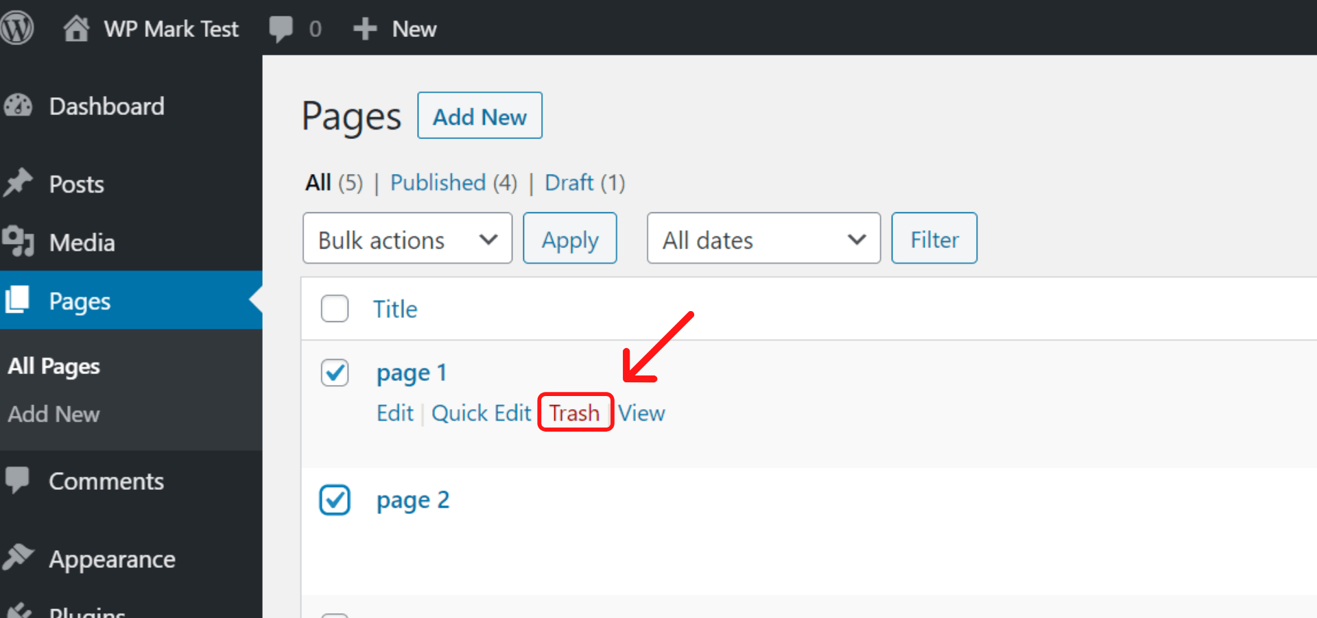 How to Delete Pages On WordPress
