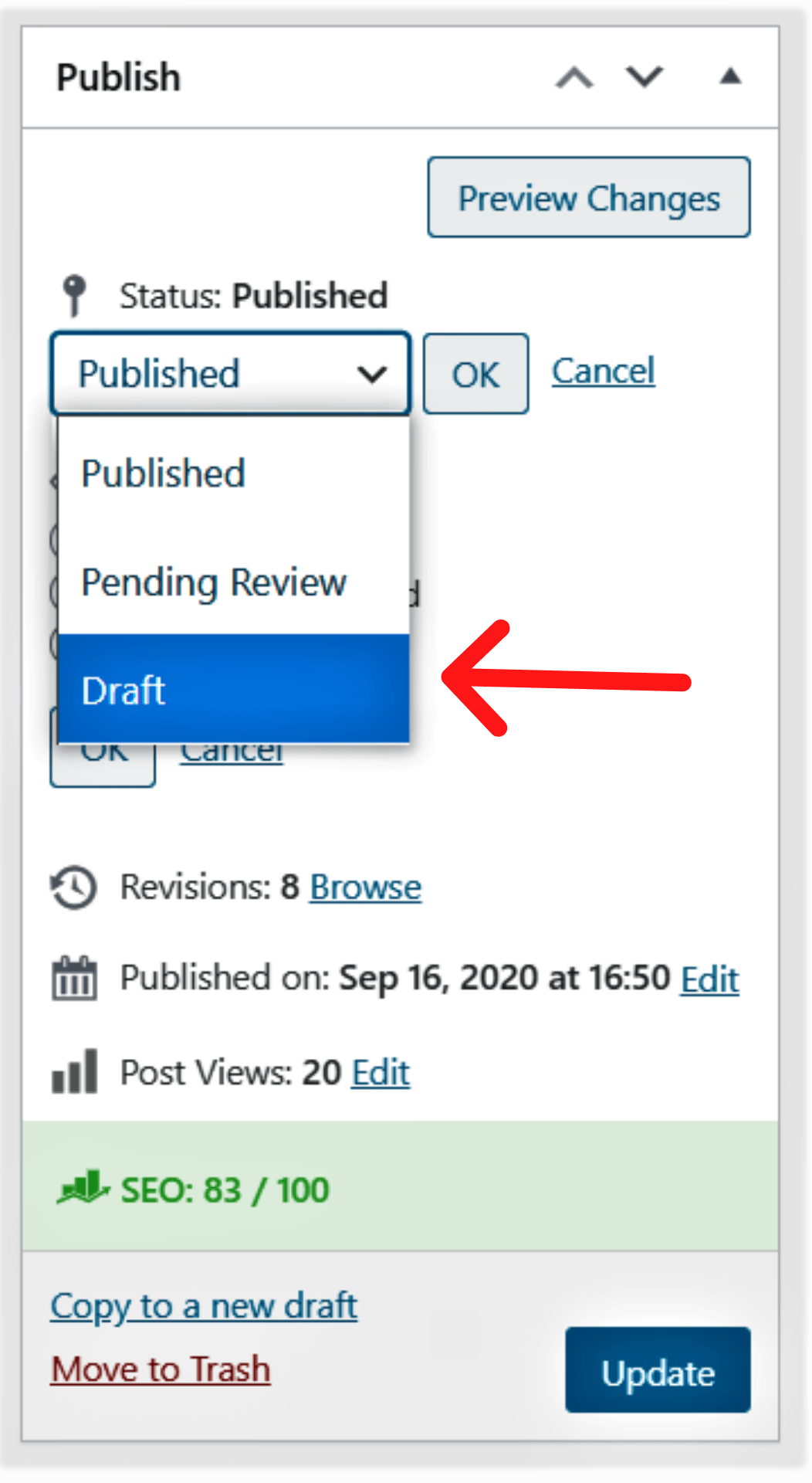 How to Unpublish a Page in WordPress